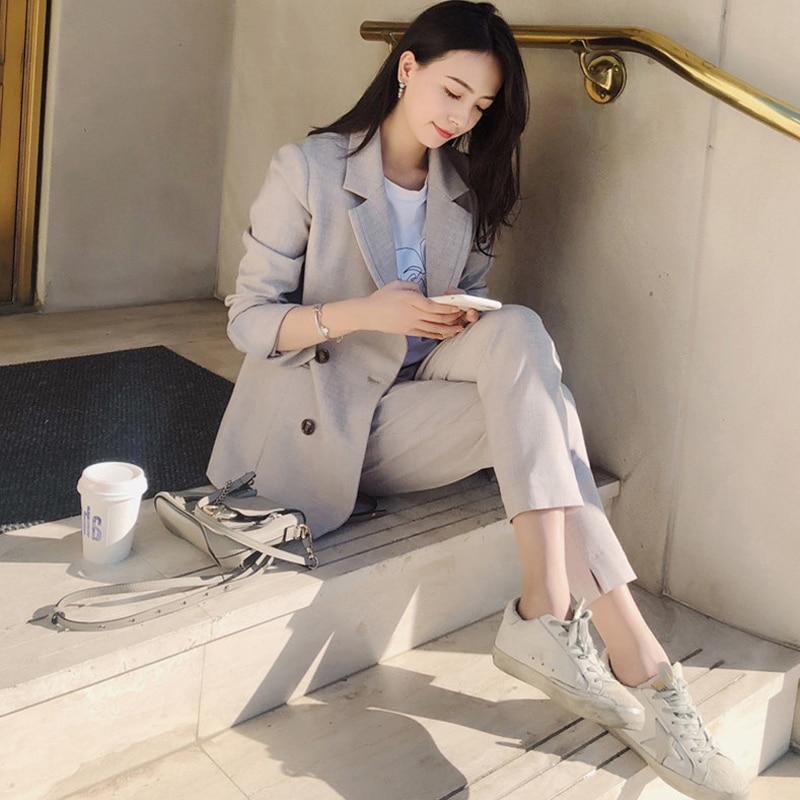 Fashion Women Blazer Suits Notch-neck Blazer Jacket & Elastic Waist Pants Office Wear Women Pant Suits 2019 Female 2 Pieces Set notch collar pleated panel blazer