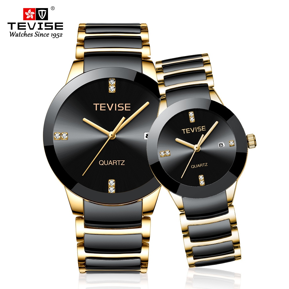 Couple Watches TEVISE T845 Fashion Lovers Watches Men Women Luxury Quartz Wristwatch For Lovers Unis