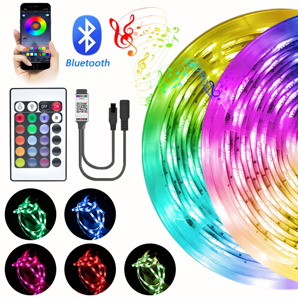LED Lights Strips RGB Bluetooth 5050 SMD DC 12V Flexible Ribbon For TV Computer Bedroom Decoration BackLight Lamp Phone Control