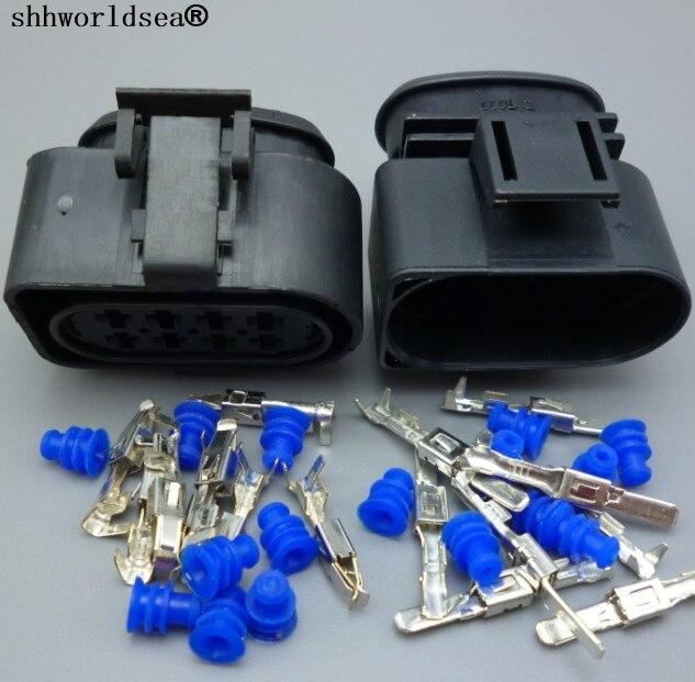 Shhworldsea 1sets 8 Pin 3,5 m coche enchufe con boquilla de aceite combustible de tapón de boquilla diesel Auto común carril cigüeñal enchufe de conector del sensor