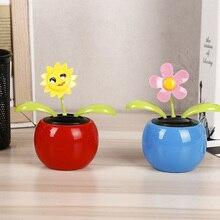 2pcs Solar Happy Dance Sun Flower Apple Flower Pink And Blue Swing Solar Toy Children Gift Car Decoration Cute Cartoon Toy