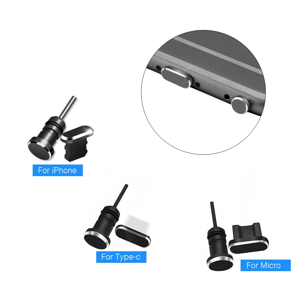 3 in 1 Metal dust plug Micro USB Type C Charging Port Earphone Jack Retrieve Card Pin for iPhone Hua