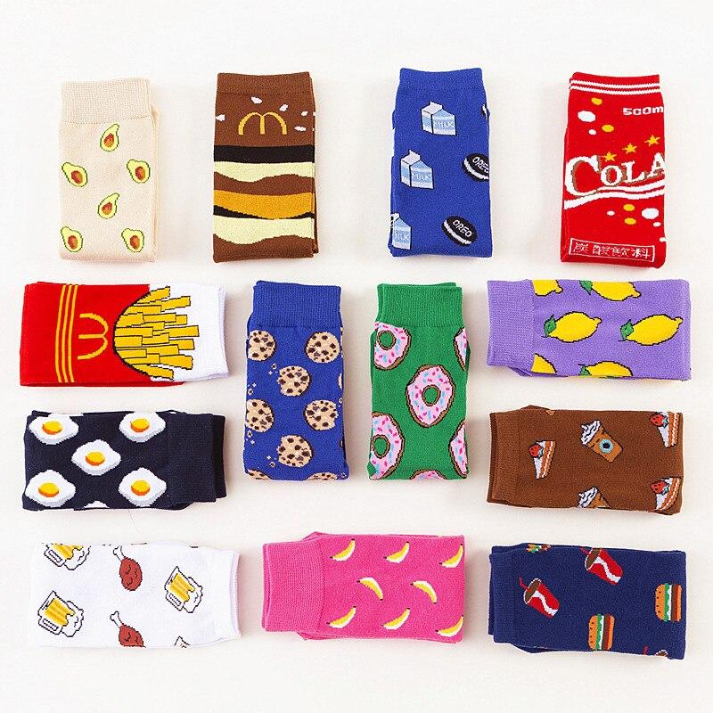 2020 nova chegada das mulheres meias curtas harajuku estilo criativo biscoitos ovos padrão de comida meias feliz engraçado meias de algodão puro