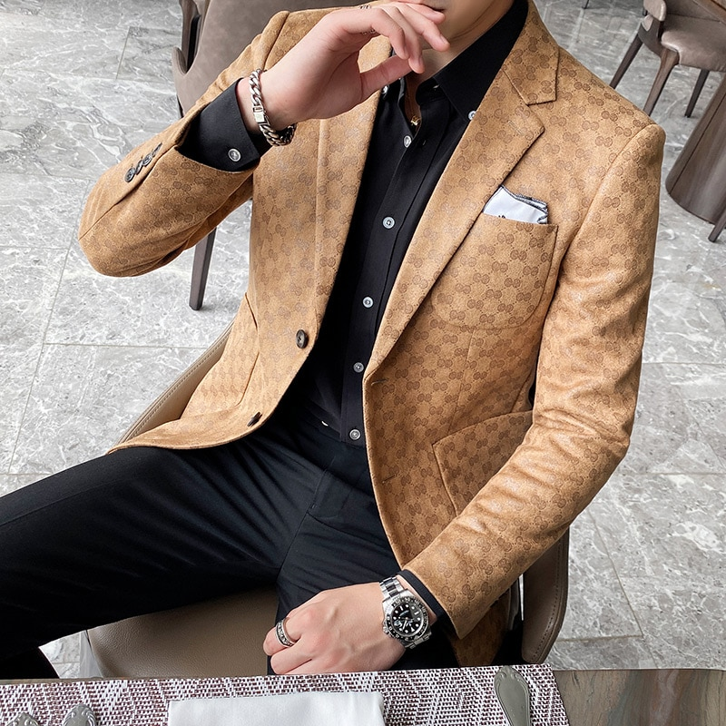 2020 Men Blazers British Style Printed Blazer Masculino Wedding Business Casual Suit Jacket Streetwe