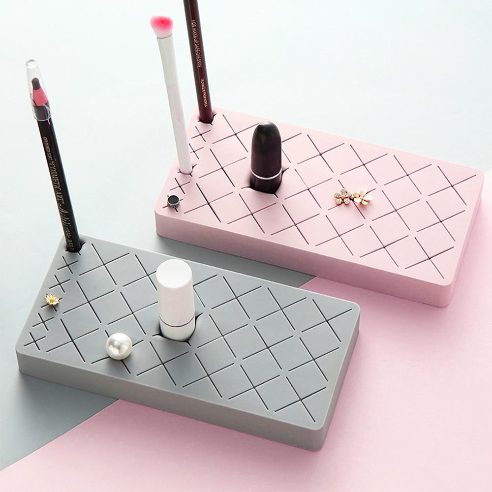 De silicona de almacenamiento de maquillaje titular del estante del lápiz labial caja de almacenamiento de cosméticos innovadores soporte de exhibición de organizador de maquillaje