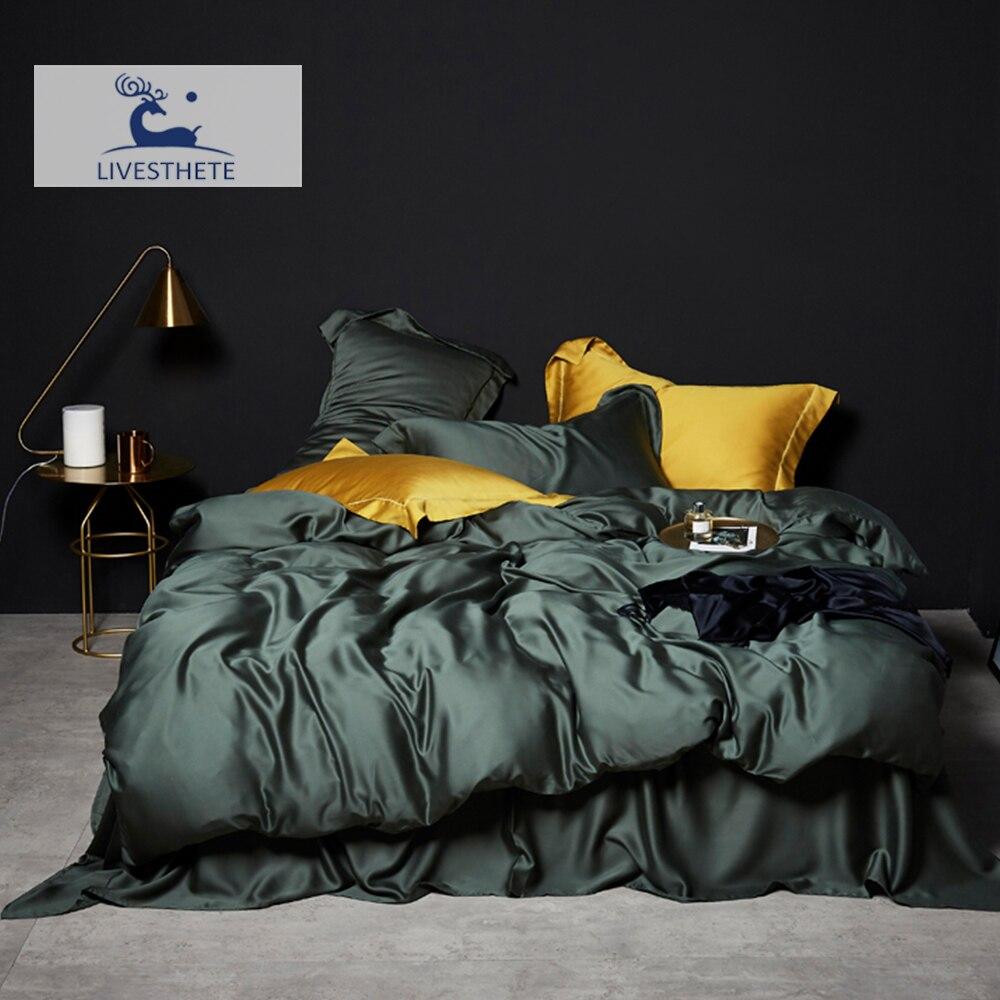 Liv-Esthete verde oscuro 100% seda ropa de cama conjunto de cama de seda pura de lujo reina rey funda de edredón sábana plana funda de almohada ropa de cama conjunto