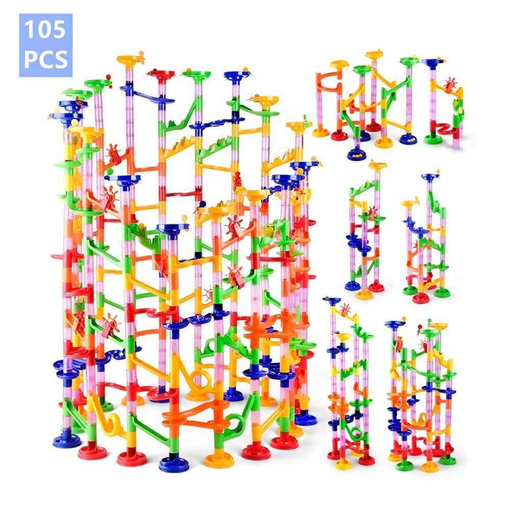 80/105/109pcs Set DIY Construction Marble Tracks Preschool Educational Toys Children Building Pipe B