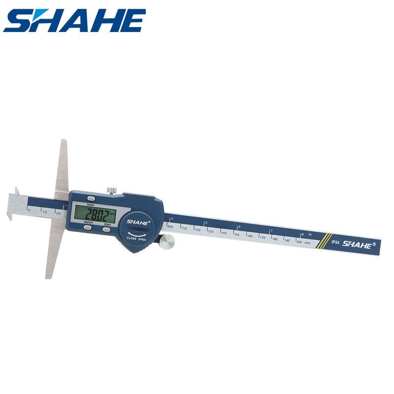Shahe 0-200 مللي متر خطافات مزدوجة عمق مقياس lcd الرقمية الالكترونية الفرجار باكميترو الرقمية 200 مللي متر الورنية الفرجار