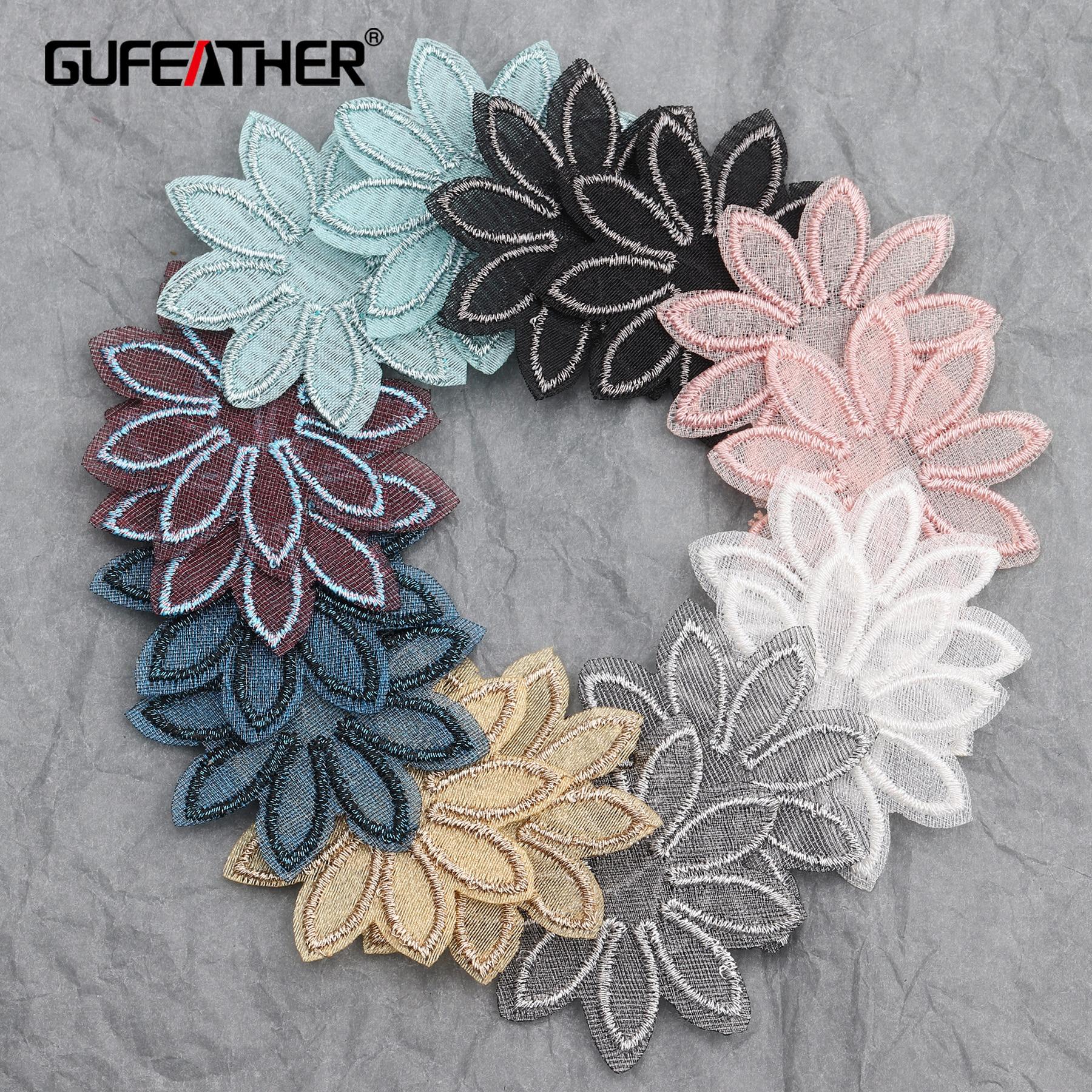 GUFEATHER L214, acessórios da jóia, forma de flor, diy pingente, malha patch, descobertas jóias, feitas à mão, fazer jóias, 20 pçs/lote