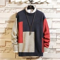 high quality mens knitted sweater autumn winter brand patchwork pullovers knitwear 2019 oversize
