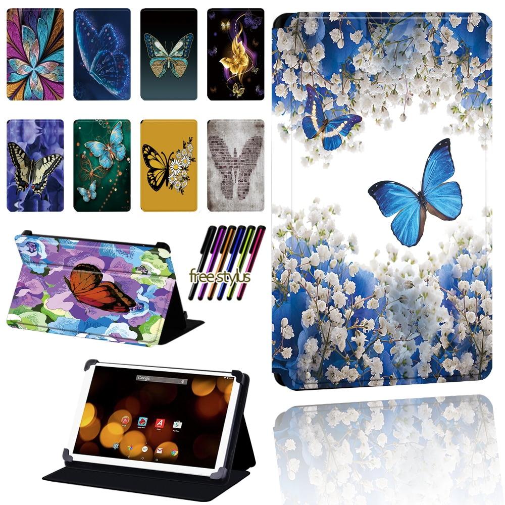 Butterfly Cover for Argos 7 8 10 10.1Inch Adjustable Dust-proof for Argos Bush Spira/Eluma/My Tablet/Breezie Tablet Case+pen