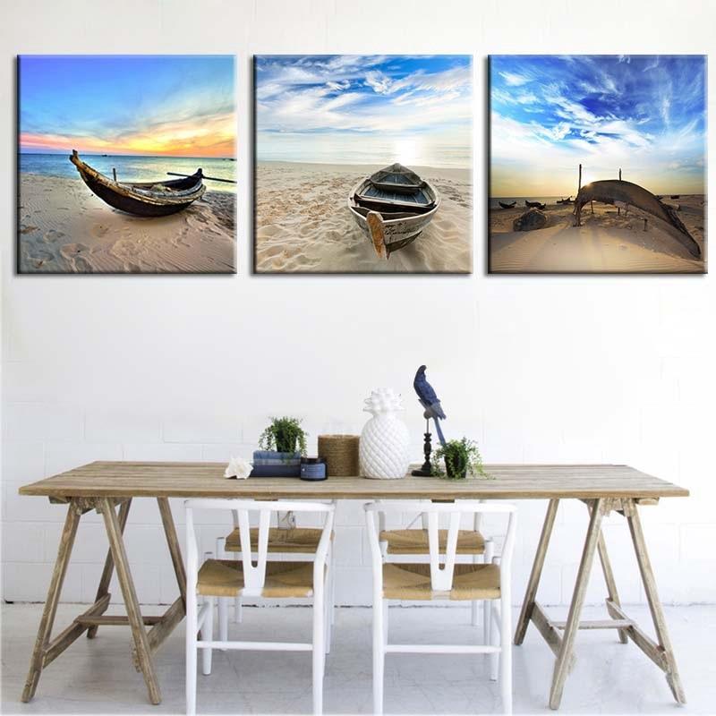 Seascape pintura em tela mar praia barco arte da parede cartaz e cópias pintura da parede fotos para casa sala de estar decoração