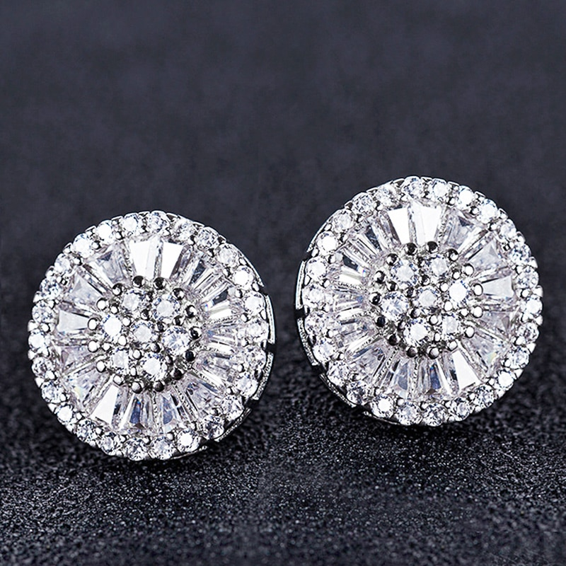 Huitan High Quality Stud Earrings with Brilliant Fireworks Shape Fine CZ Jewelry Engagement Wedding Earrings for Women Girls