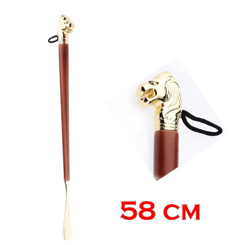 Shoe Horn 58cm Retro Durable Lion Head Long Metal Shoehorn Brown Wood Handled Shoe Lifter Spoon 58cm
