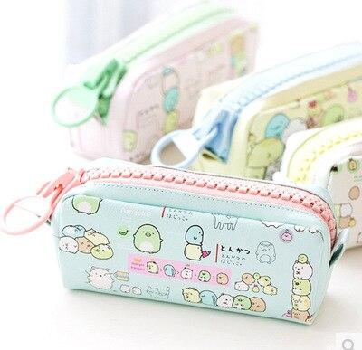 Cute Sumikko Gurashi Pen Bag Cartoon PU Zipper Pencil Case Bags Creative Shiba Inu Stationery Pouch School Supplies for Student