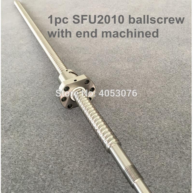 SFU2010 ballscrew 300 350 400 450 500 550 600 مللي متر الكرة المسمار مع شفة واحدة الكرة الجوز BK/BF15 نهاية تشكيله CNC أجزاء