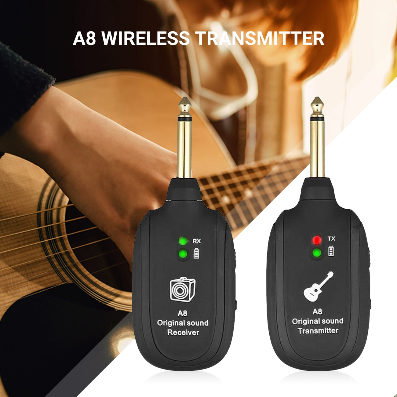 eunavi 2 4g wireless transmitter 2pcs UHF Guitar Wireless System Transmitter Receiver Wireless Guitar Transmitter Built-In Rechargeable Battery