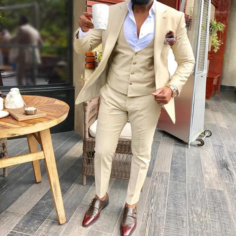 بدلة رجالية مكونة من 3 قطع بلون شامبانيا فستان رسمي بطوق مناسب لحفلات الزفاف (سترة + سترة + بنطلون)
