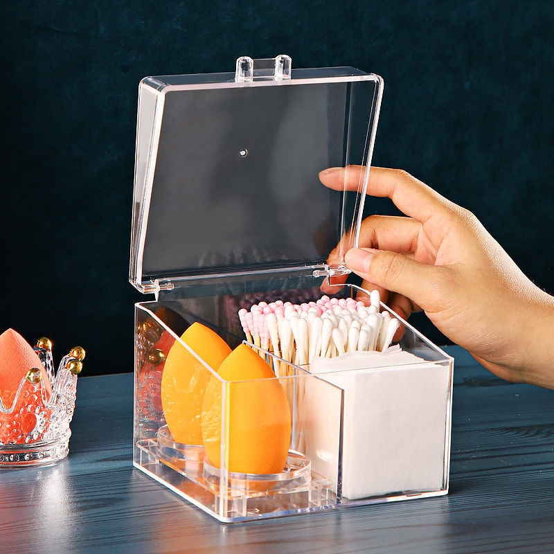 Transparent Multifunctional Beauty Egg Display Box Cotton Swab Storage Box with Cover Dust-Proof Storage Rack Lipstick Organizer ice gray bracelet watch storage box display stand dust proof glass transparent watch box display props small pillow wholesale