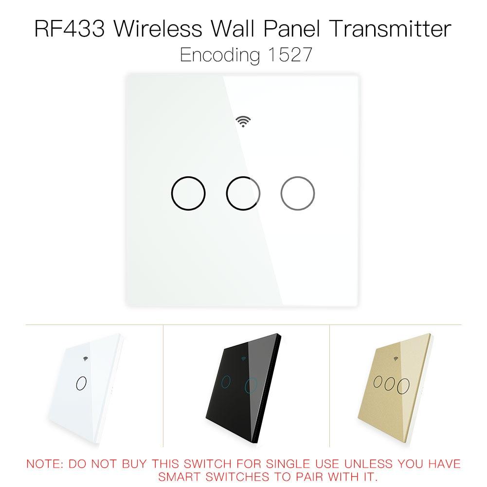 RF433 MHz interruptor transmisor de Panel de cristal inalámbrico, Control remoto, funciona con WiFi, Control inteligente, receptor de interruptor adhesivo