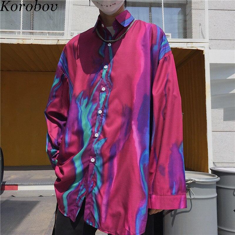 Korobov Harajuku 2019 nuevas Blusas de primavera estampado japonés blusa de mujer coreano holgado de estilo informal Turn-down Collor Streetwear camisas 76589