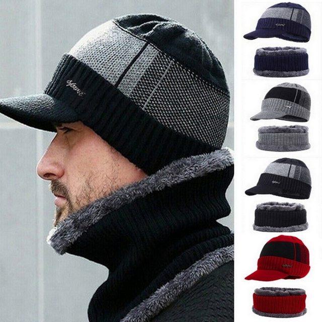2020 New High Quality Winter Knit Beanie Scarf 2 Pieces Set Thick Lining Plus Velvet Men's Visor Hat Warm Dad Cap Soft Balaclava