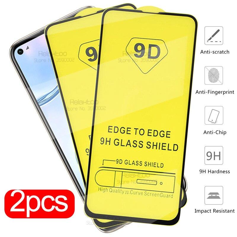 2 piezas de vidrio protector de pegamento completo 9D para huawei p40 lite p30 luz p20 pro p 40 30 20 protector de pantalla de vidrio templado película de seguridad