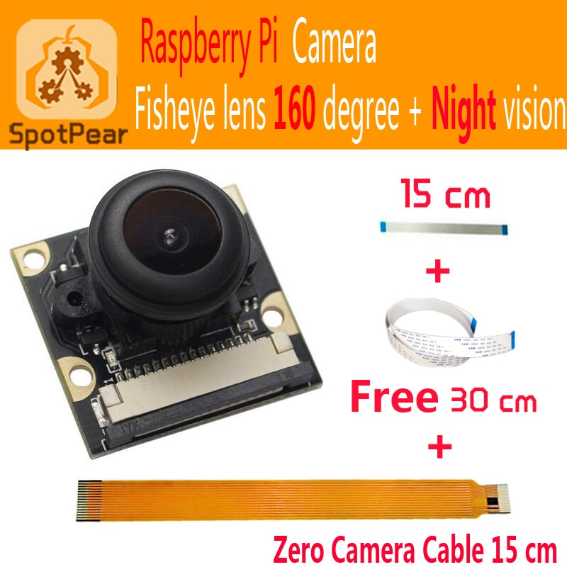 Módulo de cámara Raspberry Pi 5MP gran angular ojo de pez 160 + visión nocturna lentes de vigilancia 1080p para Raspberry pi zero 3B + 4B pi0 W