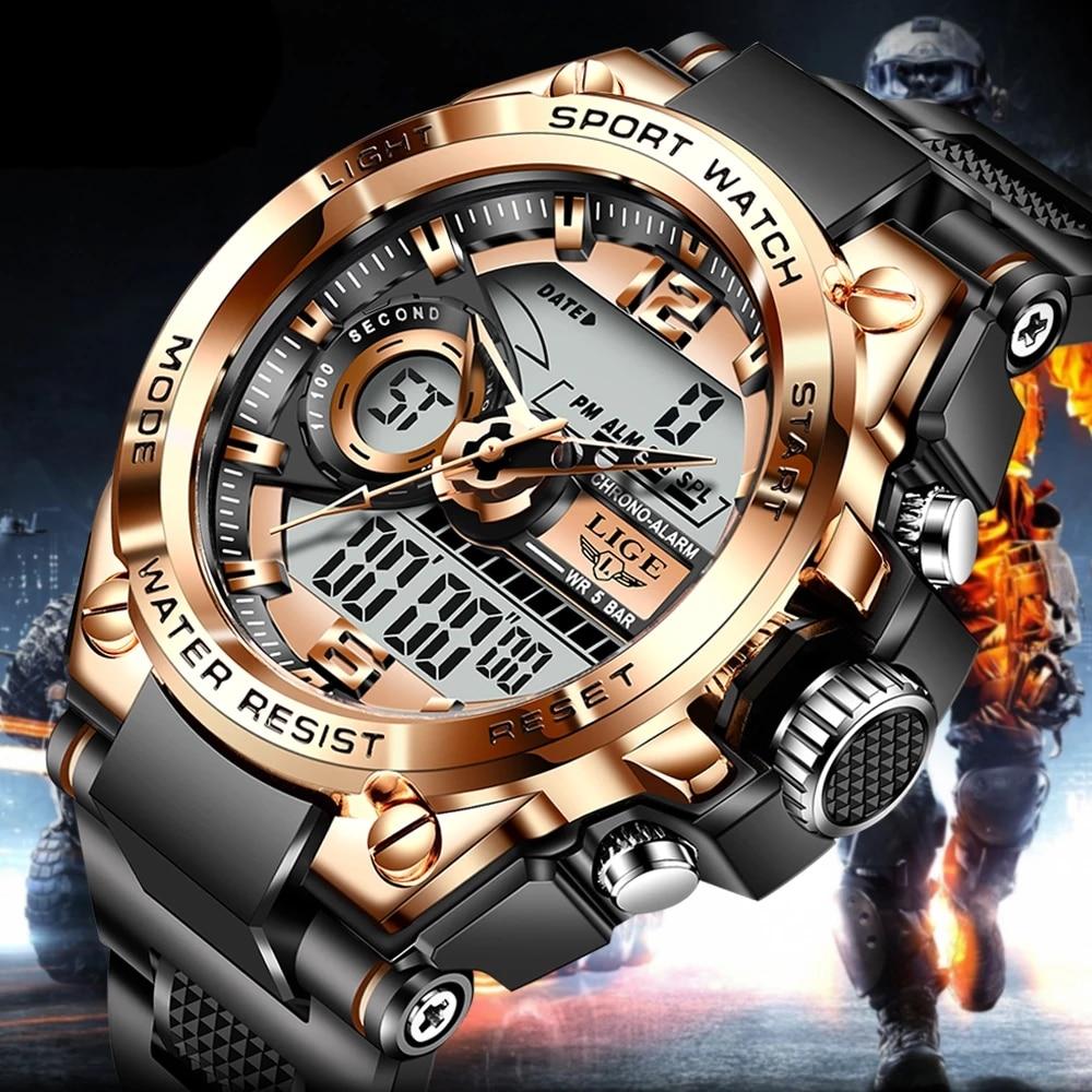 LIGE-ساعة رياضية للرجال ، ساعة يد رياضية عسكرية للرجال ، شاشة مزدوجة ، مقاومة للماء ، للاستخدام في الهواء الطلق