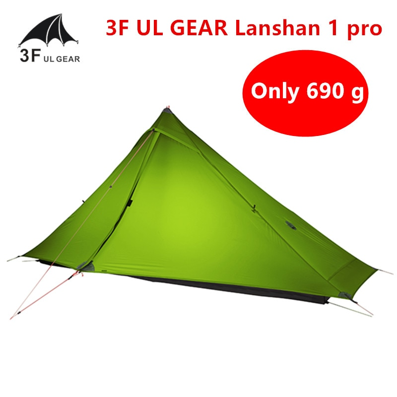 3F UL GEAR Lanshan 1 pro Tent Oudoor 1 Person Ultralight Camping Tent 3 Season Professional 20D Silnylon Rodless Tent