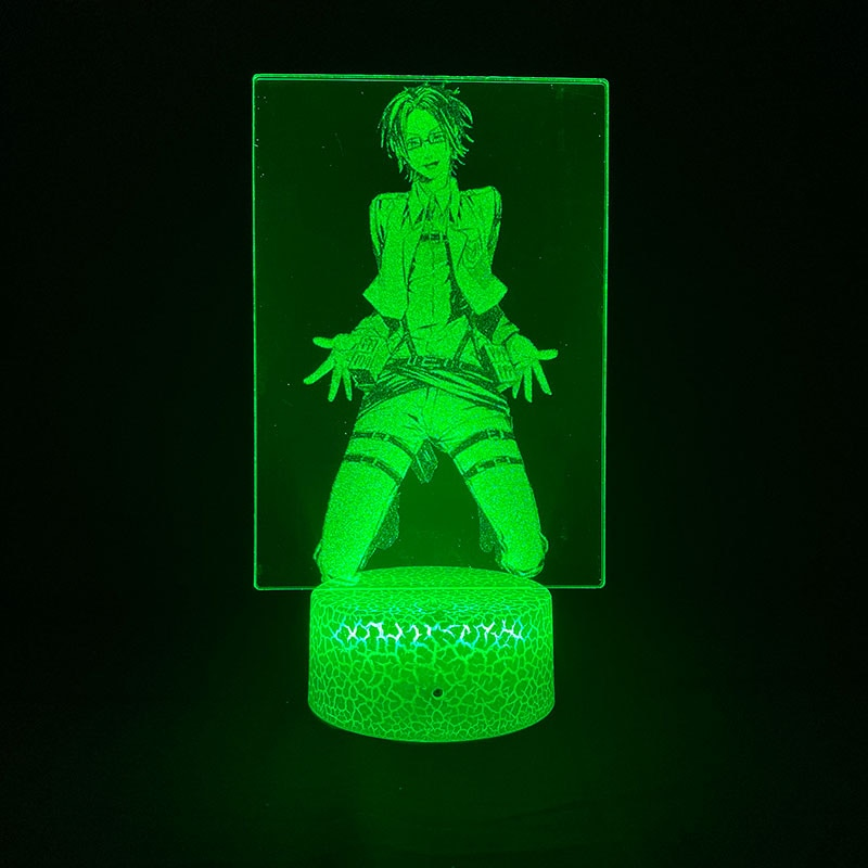 Лампа с 3d-изображением аниме «атака на Титанов», колонка Hange Zoe с Bluetooth, украшение комнаты, прикроватная лампа для подростков, спальни, подаро...