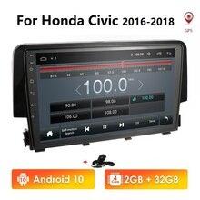 Autoradio multimédia lecteur vidéo Navigation GPS Android 10 2 din nodvd pour Honda Civic 2016 2017 2018 swc dvbt tpms dab obd bt