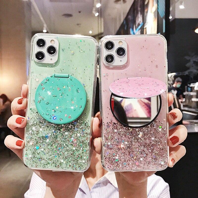 Glitter Caso Espelho para Samsung A51 A71 A70 A50 A81 A91 A20 A30 A10 A80 S20 Ultra S10 S9 S8 Nota 10 9 8 Plus Lite Capa De Silicone