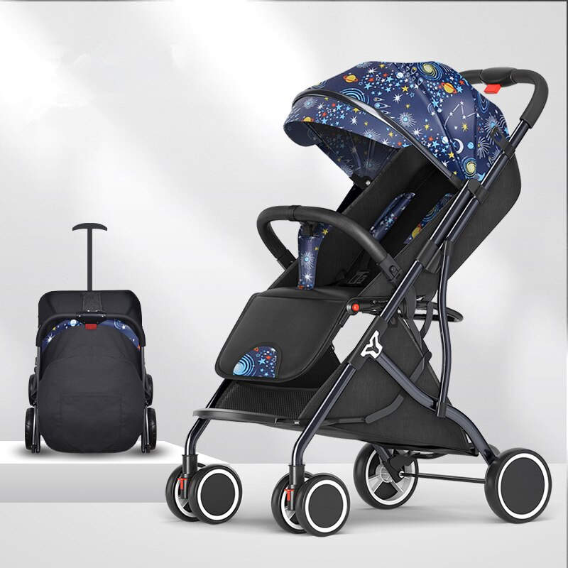 6Kg Adjustable Luxury Baby Stroller 3 in 1 Portable High Landscape Lightweight Stroller Pink Stroller Travel Pram Pushchair