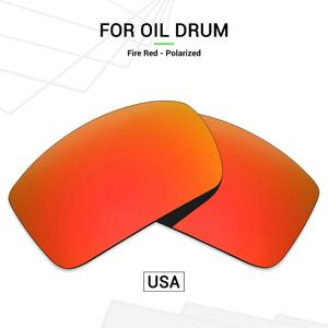 Mryok POLARIZED Replacement Lenses (from USA) for Oakley Oil Drum Sunglasses Fire Red