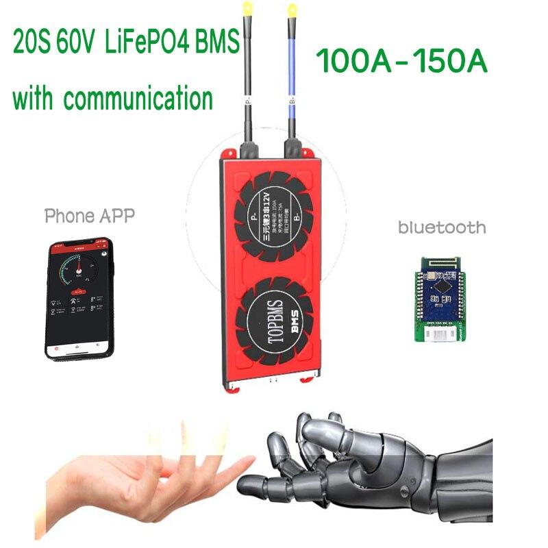 BMS 20 S 100A150A بلوتوث لمس RS485 يمكن UART ل بطارية أيون الليثيوم فوسفات 3.2 فولت 3.65 فولت متصلة في 20 سلسلة
