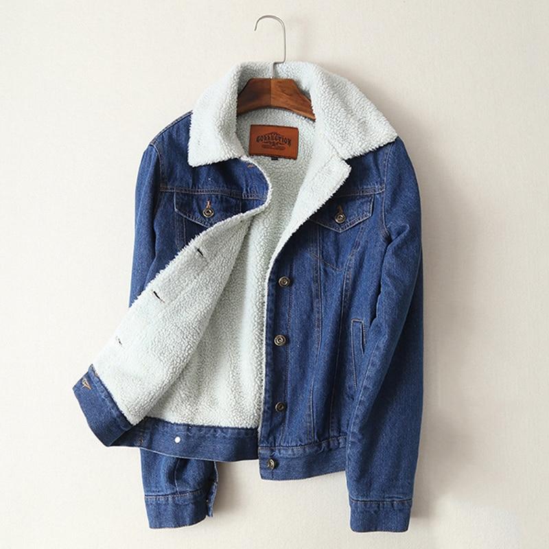 Chaqueta de mezclilla gruesa de lana de cordero de moda para mujer 2020 otoño invierno cálido prendas de vestir sólido informal abrigo de mezclilla feminina envío gratis