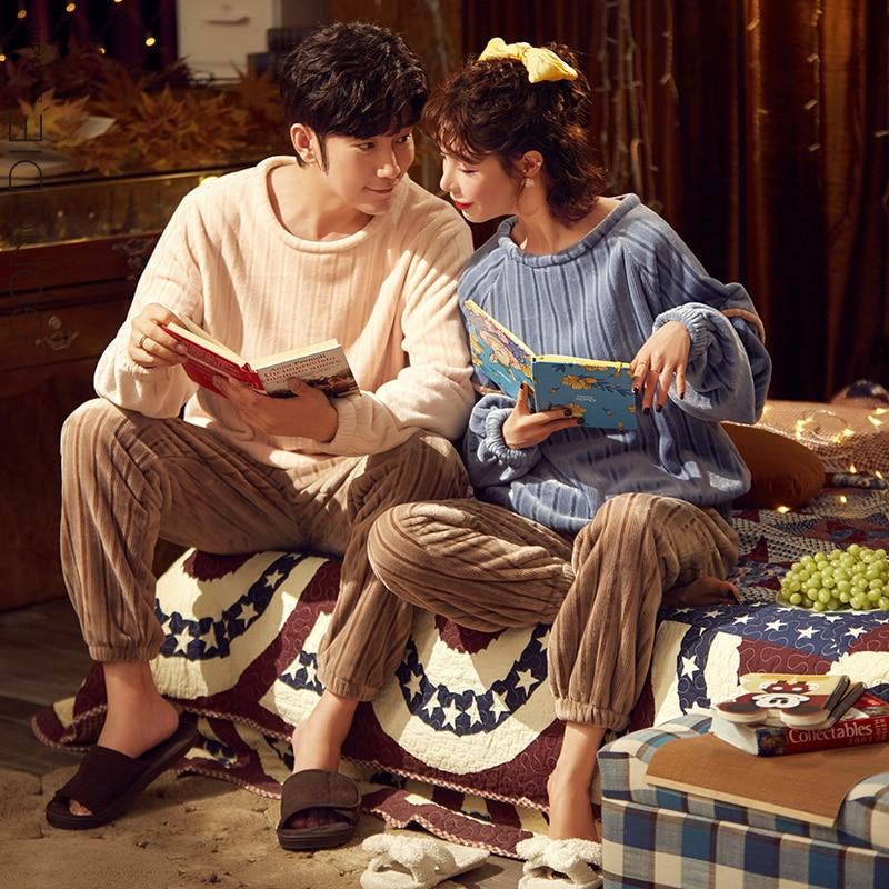 زوجين منامة الخريف والشتاء الصوف اصطف سميكة المرجان الصوف المرأة مجموعة بسيطة الفانيلا الرجال ملابس منزلية غير رسمية