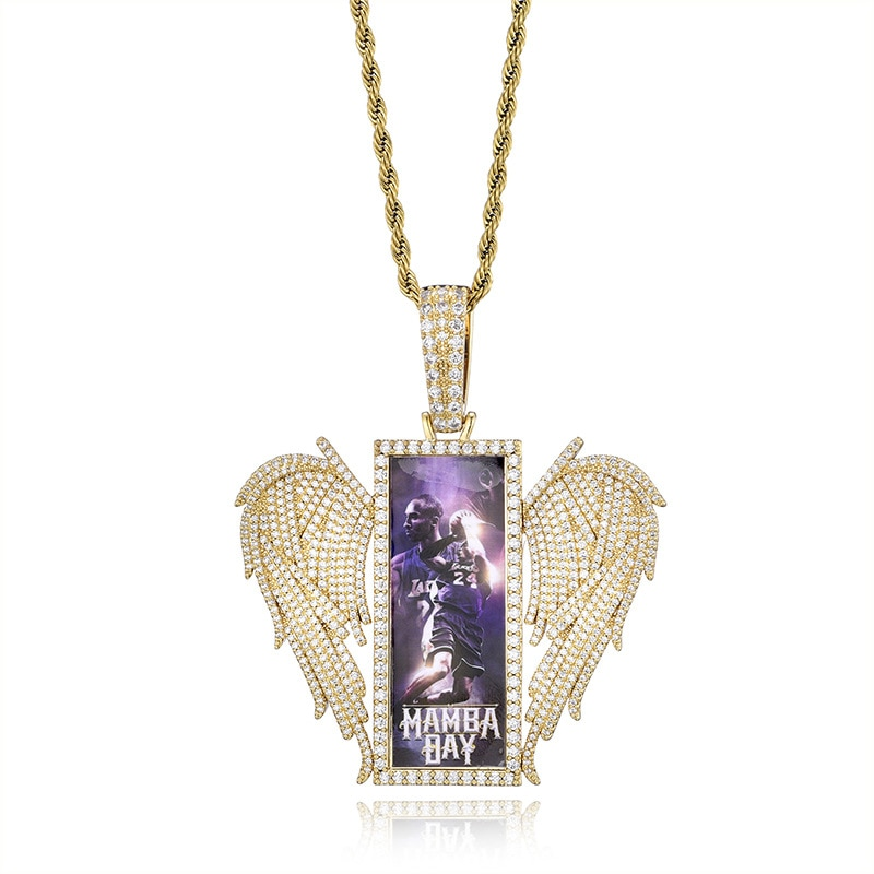 худи rock angel rock angel ro050ewgfzx4 Private Custom photo Angel Wing Rectangular Frame Pendant Micro-Emblazoned With zircon Hip-Hop Necklace Hiphop/Rock
