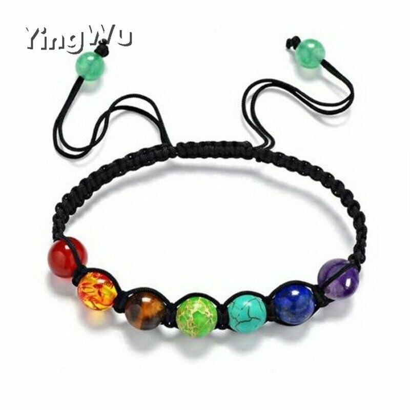 Yingwu 8mm Big Beads 7 Chakra Bracelet Yoga Bracelet Healing Balance Supernatural Lava Reiki Stones Beads Bracelet Women Jewelry