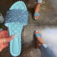 women crystal slippers ladies bling flats female fashion outdoor beach shoes female footwear women summer slides plus size 35 43