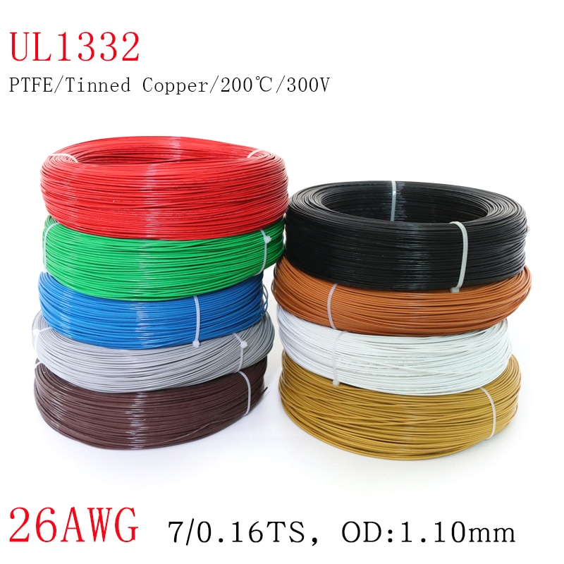 AliExpress - 1M UL1332 Wire 26AWG PTFE Plastic Insulated OD 1.1mm Tinned Copper Electronic Cable High Temperature DIY Line 300V Colorful