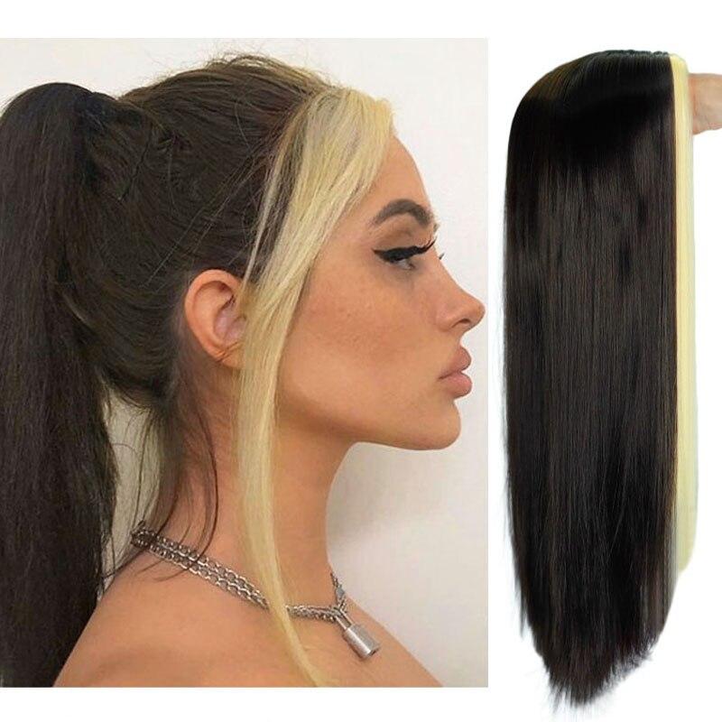 Noir longue perruque droite pour les femmes des deux côtés or cheveux partie moyenne résistant à la chaleur ondulé Cosplay perruque pour fille