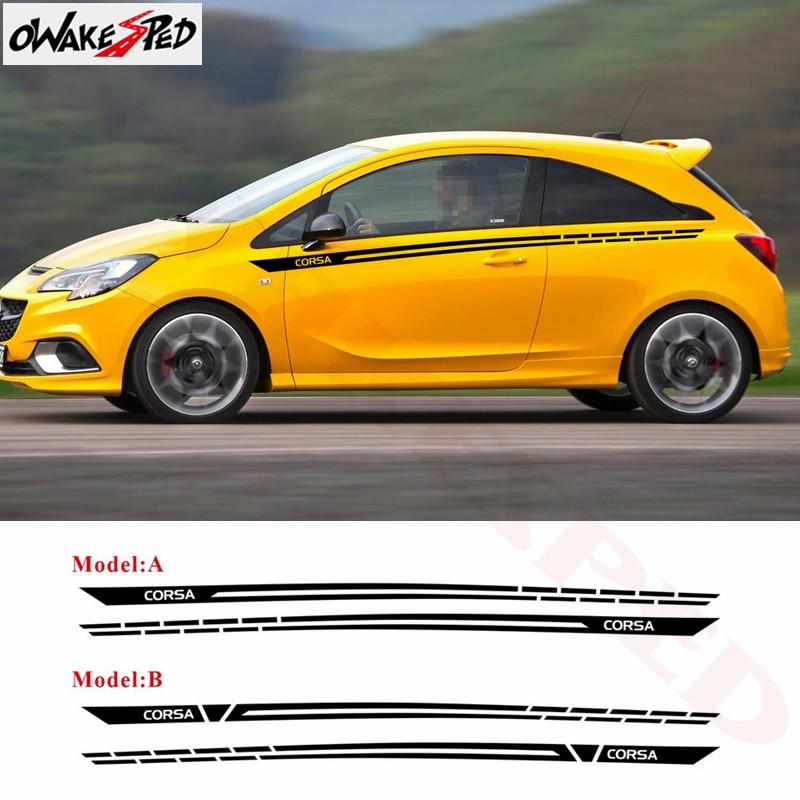 Pegatina decorativa de línea de cintura para puerta de coche para Opel Corsa c e d 3-5 puertas pegatinas de diseño de rayas deportivas para carrocería de coche
