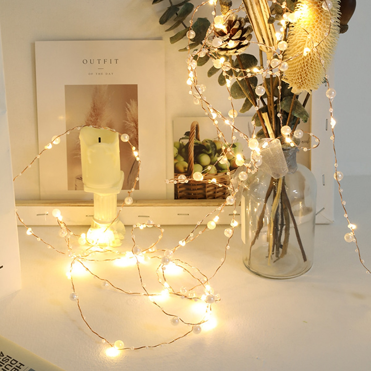 led string lights silver wire garland powered by 5v battery usb fairy light home christmas wedding party decoration 5M LED String Lights Copper Wire Garland Powered By Battery Battery Fairy Light Home Christmas Wedding Party Decoration 50Leds