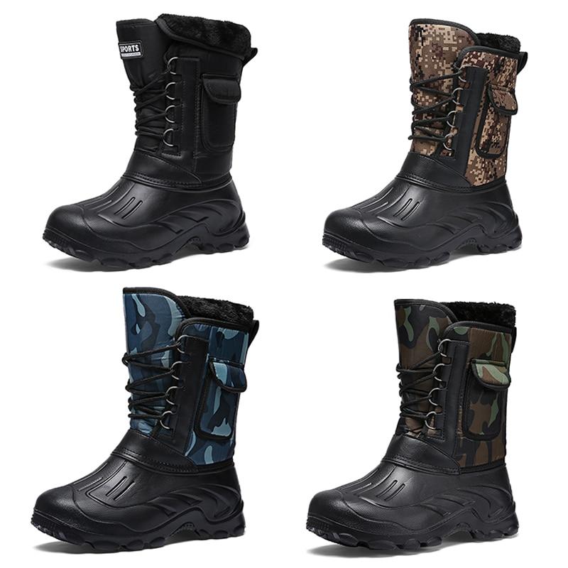Купить с кэшбэком MARSON Men Snow Boots Winter Casual Shoes Male Cotton Plush Keep Warm Outdoor-Working Camouflage Boots Slip-resistant Men Shoes