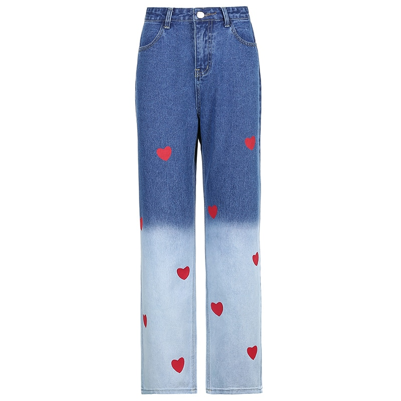 Casual Heart Print Tie Dye Straight Jeans Women High Waist Loose Denim Long Pants Y2K Trousers 90S Harajuku 2021 Summer Spring  - buy with discount