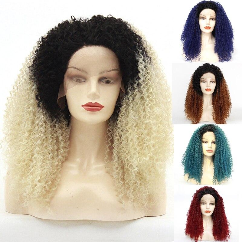 Envío Gratis pelo Natural sin pegamento raíces oscuras Ombre Rubio Afro rizado sintético encaje pelucas frontales para mujeres resistente al calor