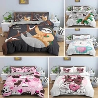 animal pattern duvet cover sets sloth cat bedding set pillowcase set singletwinqueenking size for kids bedclothes