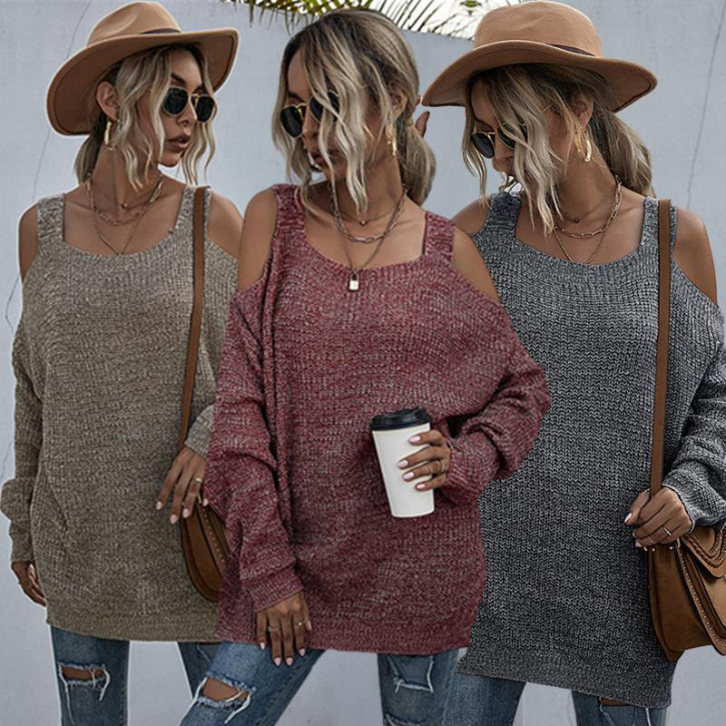 2020 Fashion Women Casual Solid Long Sleeve Cut-out Sweater Elegant Lady Sexy Square Neck Loose Top Streetwear Outwear cut out sleeve plain top
